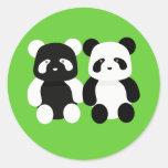 compinches de la panda del kawaii pegatina redonda