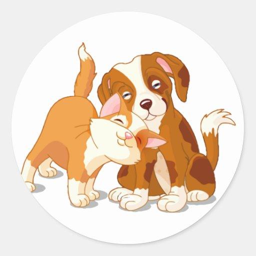 Compinches del gato y del perro etiquetas redondas