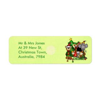 Compinches del navidad etiqueta de remite