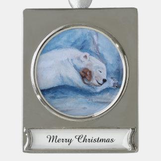 Compinches durmientes oso y ratón adornos navideños plateados