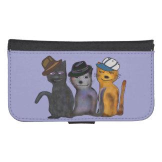 Compinches frescos del gato fundas billetera para teléfono