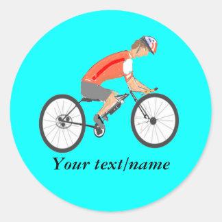 Compitiendo con al ciclista, añada el texto pegatina redonda