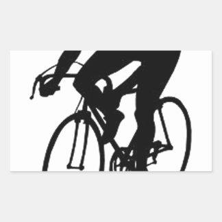 Compitiendo con al ciclista rectangular pegatina