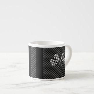Compitiendo con banderas en fibra de carbono de taza espresso