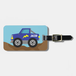 Compitiendo con el monster truck azul, para los mu etiqueta para equipaje