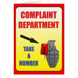 Complain Department Greeting Card