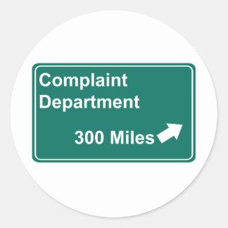 Complaint Department 300 Miles Classic Round Sticker