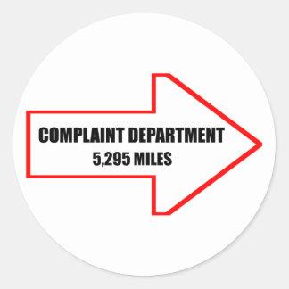 Complaint Department Stickers