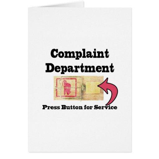Complaints Department Card