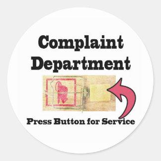 Complaints Department Classic Round Sticker
