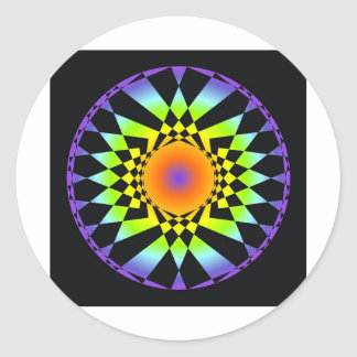 Complejidad simple. Colores de Chakra, geometría Pegatina Redonda