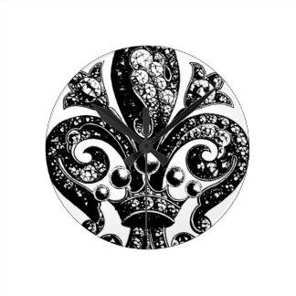 Complejo adornado de la flor de lis reloj de pared
