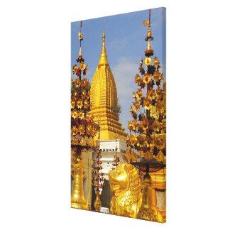 Complejo de la pagoda de Shwe Zigon en Bagan (Paga Lona Estirada Galerias
