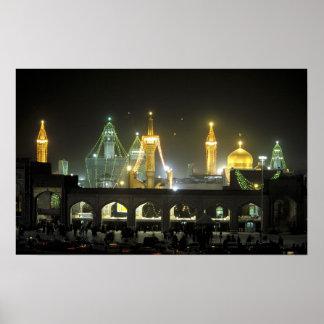 Complejo en la noche, Mashhad de la capilla de Rez Póster