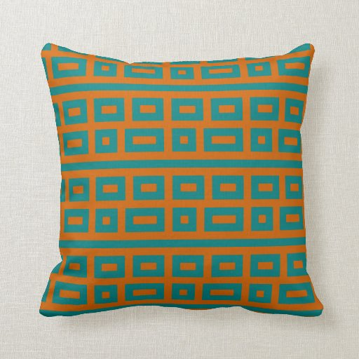 Complementary colors teal orange pillows