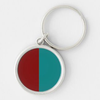 Complementary Two Color Combination / Mix Silver-Colored Round Keychain