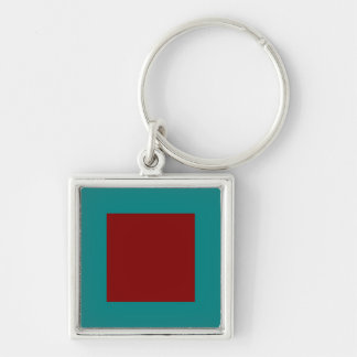 Complementary Two Color Combination / Mix Silver-Colored Square Keychain