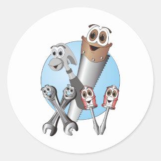 Complete Cartoon Tool Set Blue Round Stickers