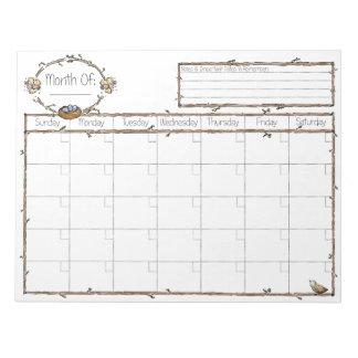 Complete el calendario en blanco libreta para notas