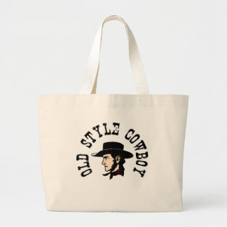 Complete with black hat: Vintage old style Cowboy Large Tote Bag