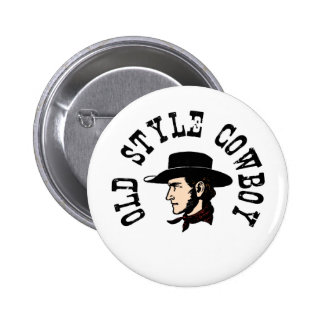 Complete with black hat: Vintage old style Cowboy Pinback Button