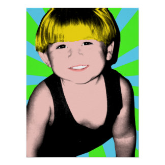 Completed Pop Art Little Boy Poster