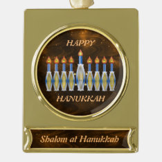 Completely Customizable Shalom Hanukkah Menorah Gold Plated Banner Ornament at Zazzle