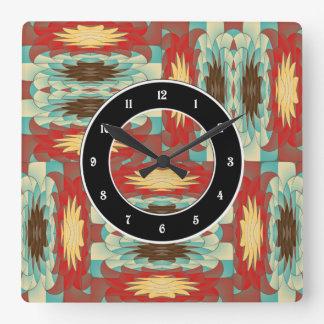 Complex colorful pattern square wall clock