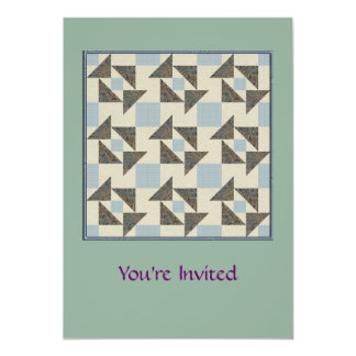 Complex Grandmother's Puzzle Olive Green & Blue Card
