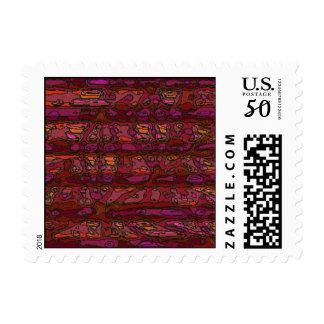 Complex Maroon Stripes Postage