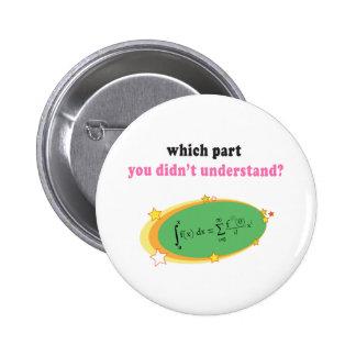 Complex Math Equation Pinback Buttons