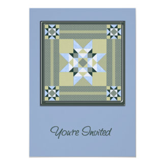 Complex Patch in Blue & Green You're Invited Card