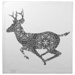 complex pattern deer coloring page art to color cloth napkin