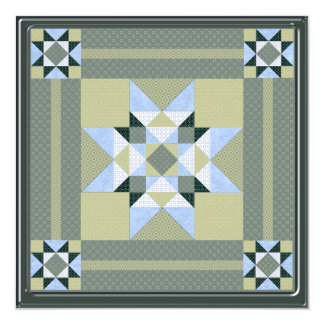 Complex Star Patch in Green & Blue Card