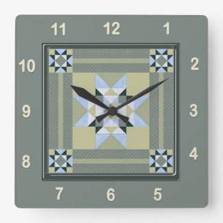 Complex Star Patch Quilt Block in Greens Square Wall Clock