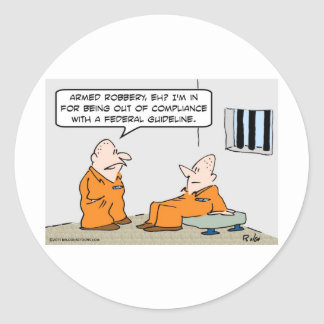 compliance federal guideline prisoners classic round sticker