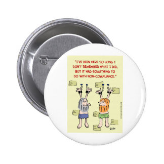 compliance non-compliance hanging prisoners pinback button