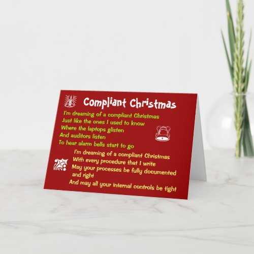 Compliant Christmas Funny Compliance Song Parody Holiday Card