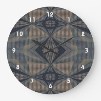 Complicated World - Abstract in Gray, Beige, Blue Large Clock