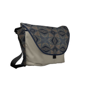 Complicated World - Abstract in Gray, Beige, Blue Messenger Bag
