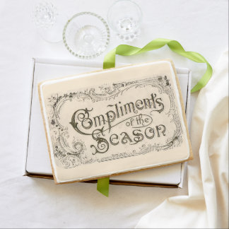 """""""Compliments of the Season"""" Holiday Greeting Shortbread Cookie"""