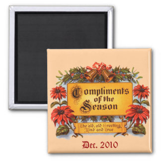 Compliments of the Season 2 Inch Square Magnet