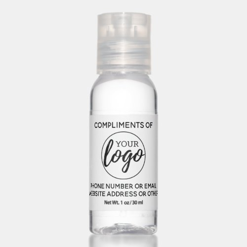 Compliments of -- with your Business Logo Hand Sanitizer
