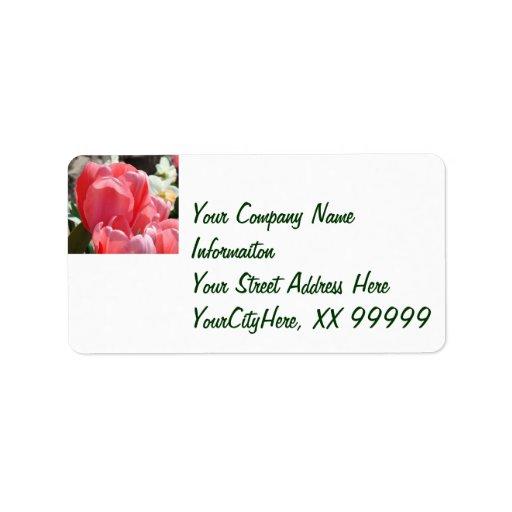 Compnay Return Address Labels Pink Tulips Flowers