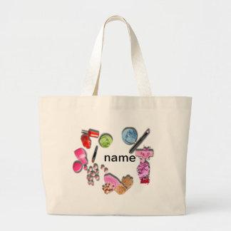 Componga los cosméticos del personalizar del chica bolsa tela grande