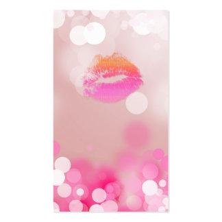 Componga los labios y las luces del rosa de la tar tarjetas de visita