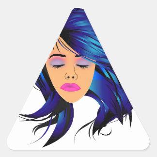 Componga y señora gráfica del pelo con un abadejo pegatina triangular