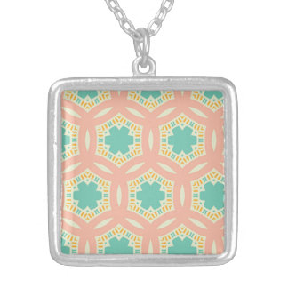 Composed Courteous Happy Willing Square Pendant Necklace