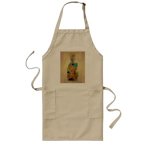 Composed Violin over Wood Grain Background Long Length Apron
