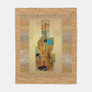 Composed Violin on Wood Panel Effect Background Fleece Blanket